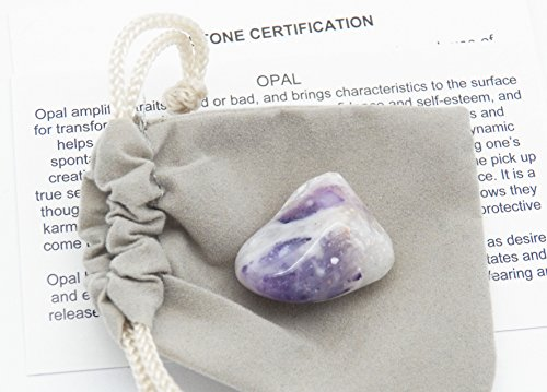 Fundamental Rockhound Products: Morado Opal Tumbled Gemstone Crystal with Storage Pouch, info Card, Stone Certification (Medium) -