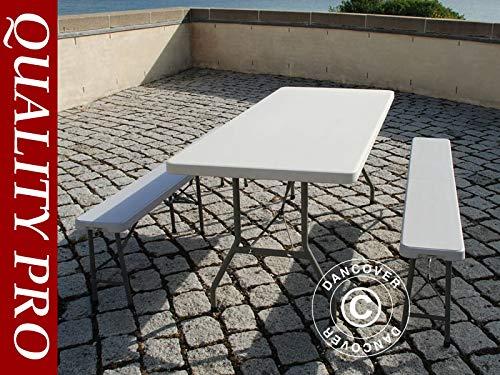 Set de mesas cerveceras, 1 Mesa Plegable Pro (242cm) + 2 Bancos ...