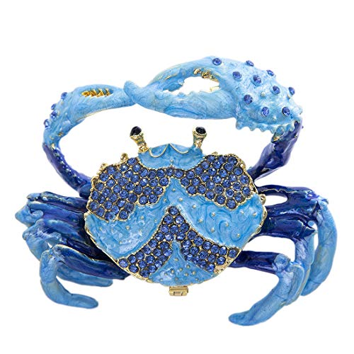 YU FENG Crab Jewelry Trinket Boxes Hinged Animal Jeweled Trinket Box Decorative Crab Collectible Figurine
