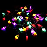 Halloween String Lights, YUNLIGHTS 14.7ft 40 LED Waterproof Ghost Light with 8 Modes, Battery Powered (Multicolor)
