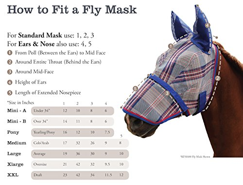 Kensington Fly Mask Web Trim — Protects Horses Face and Eyes From Biting Insects and UV Rays While Allowing Full Visibility — Ears and Forelock Able to Come Through the Mask