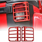 Hooke Road Tail Light Guards Red Rear Taillight Covers for 2007-2018 Jeep Wrangler JK - Pair