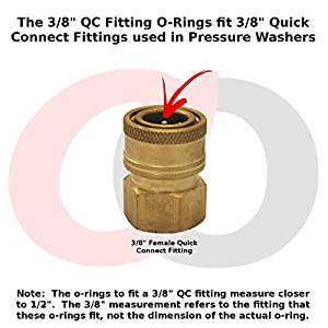"""Captain O-Ring - Power Pressure Washer O-Rings for 3/8"""" Quick Coupler, EPDM (10 pack) [1/2"""" o-rings to fit 3/8"""" QC fittings]"""