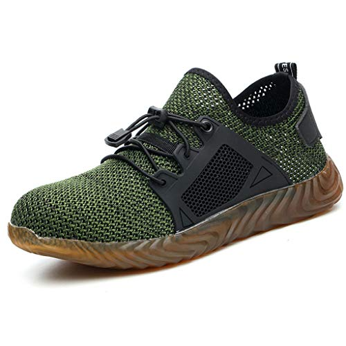 Men's Steel Toe Work Safety Shoes Breathable Outdoor Steel Toe Casual Sneakers (US:8, Green) 8' Composite Safety Toe