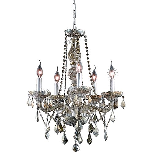 Elegant Lighting 7855D21GT-GT/RC Royal Cut Smoky Golden Teak Crystal Verona 5-Light, Single-Tier Crystal Chandelier, 21