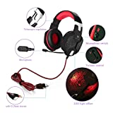 KOTION EACH G1000, 3.5mm PC Stereo Gaming Headset with in-line Mic, Integrated Microphone, Over-ear fit with Noise isolation, Integrated Breathing LED Light, For Laptops or Computers (Red)