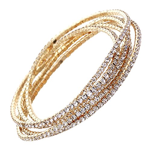Rosemarie Collections Women's Set of 5 Rhinestone Stretch Bracelets (Gold Tone/Clear Crystal)