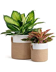 Goodpick 2 Pack Jute Rope Plant Basket Woven Basket Plant Pot Floor Indoor Planters Storage Bins for Toys Decorative Plant Cover Wicker Laundry Basket with Handles Modern Home Décor