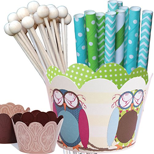 Look Who's One Owl Theme Birthday Party Supplies Pack, Slumber Party Cupcake Wrappers, Baby Shower, Confetti Couture, 96 Piece Kit