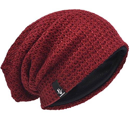 Verano Slouch Burdeos Gorro de Hombre Hat Knit Beanie Punto Invierno qFUn1wR