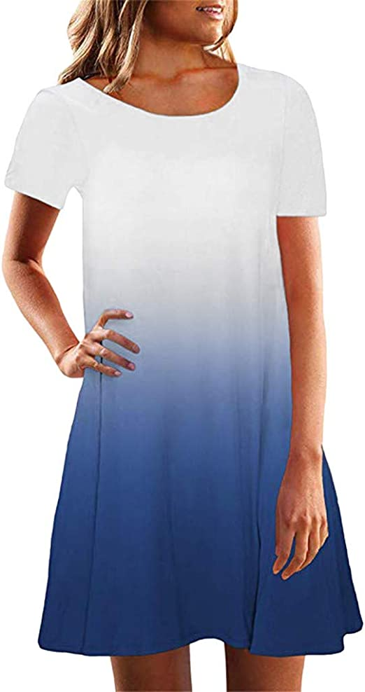Forthery-Women Long Sleeve Pocket Casual Loose T-Shirt Dress