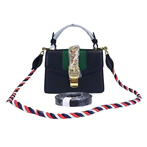 0cd3d2085bc Womens Sylvie Leather Mini Bag GG Logo Leather Purse Shoulder Bag (Black)