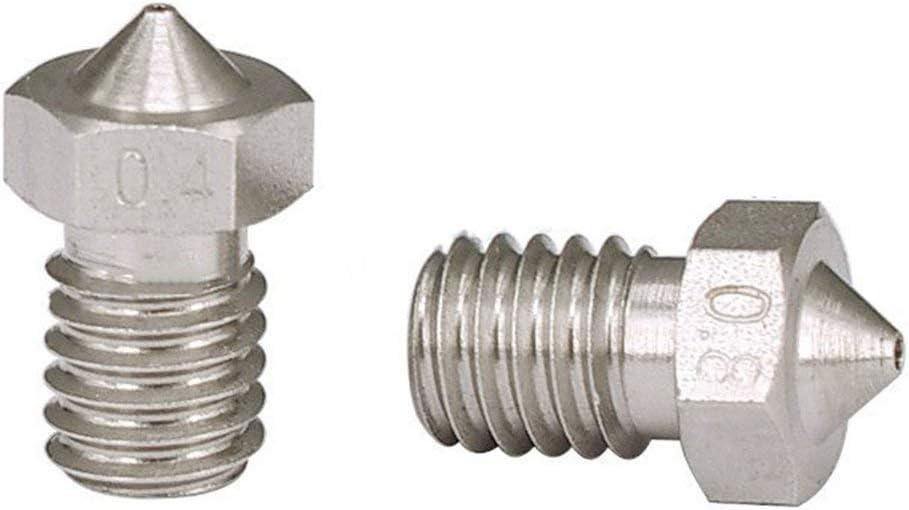 Gugutogo 3D Drucker Zubeh/ör D/üse Edelstahl Metall D/üse 0,2-0,8 Mm F/ür 1,75 Mm Filament F/ür 3D Drucker