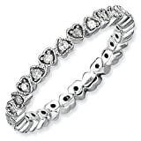 2.5mm Sterling Silver Stackable Expressions Diamond Heart Eternity Ring - Size 10