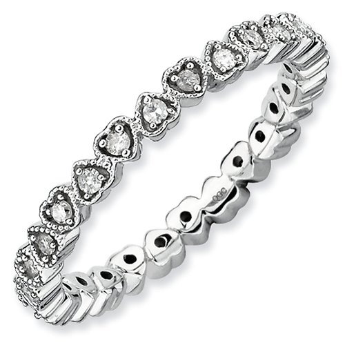 2.5mm Sterling Silver Stackable Expressions Diamond Heart Eternity Ring - Size 10 by Stackable Expressions