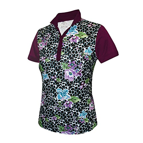Monterey Club Ladies DryスイングVivid Flower Leopard印刷ブロックシャツ# 2364
