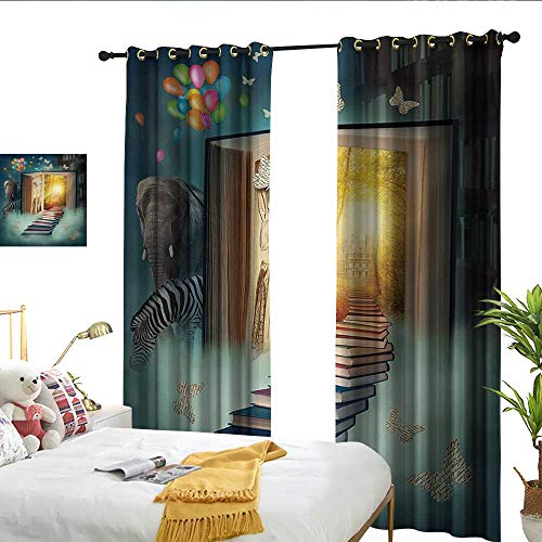 Zebra Full Rhinestones Snap - Fantasy Decor Curtains Upstairs to Magic Book Forest with Balloon Zebra Elephant Animal Butterflies Noise Reducing W72 x L96