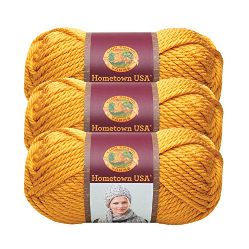 Mustard Yarn - (3 Pack) Lion Brand Yarn 135-159 Hometown USA Yarn, Madison Mustard
