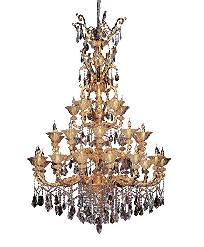 Chandeliers 30 Light Bulb Fixture with Two-Tone Gold/24K Finish Candelabra Bulb 91