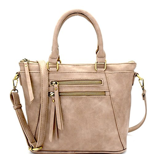 (Madison West Multi Pocket, Everyday Crossbody Tote w/Adjustable Strap- Taupe)