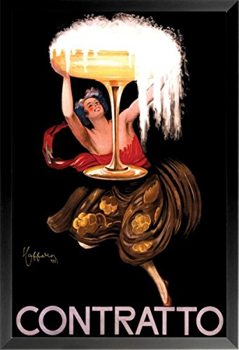 FRAMED Contratto by Leonetto Cappiello 36x24 French Vintage Advertisement Art Print Poster Classic Champagne Glass Overflow - Cappiello Champagne Leonetto