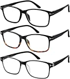 Reading Glasses 3 Pair Stylish Quality Readers Spring Hinge Glasses for Reading