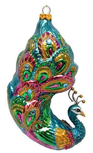 December Diamonds Blown Glass Ornament - Proud Peacock