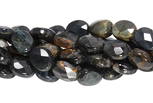 (1 Strand 15 1/2 Inch 8x10 mm Blue Tiger Eye Oval Faceted Gemstone Beads)