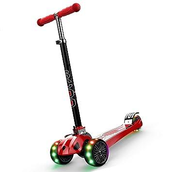 Patinetes clásicos Rojo Plegable Automóvil para Niños Bebé De 3-6 Años Scooter De 3