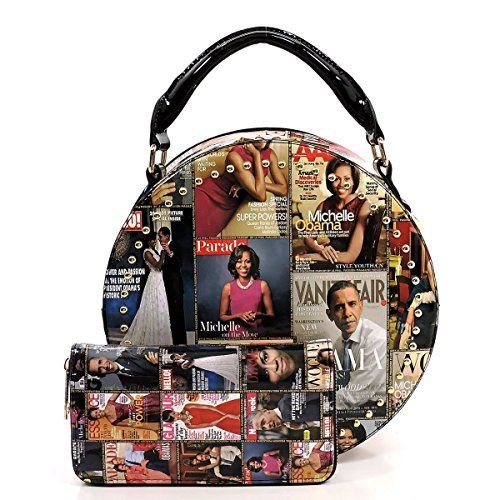 Glossy Magazine Cover Collage 2-in-1 Dome Satchel & Wallet Set Michelle Obama Handbag -