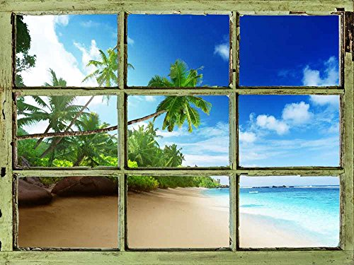 Window View Wall Mural Tropical Beach with Palm Trees Vintage Style Wall Decor Peel and Stick Adhesive Vinyl Material