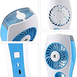 Elikeable FN Handheld USB Mini Misting Fan Built-in Rechargeable Misting Fan with Personal Cooling Humidifier for Home Office and Travel (Blue)