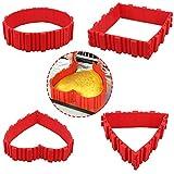 Nonstick 4PCS Silikon Backform Bake Snake Tortenring Verstellbar Magic Bake - Entwerfen Sie Ihre Kuchen Jede Form Herz Schmetterling Round Square