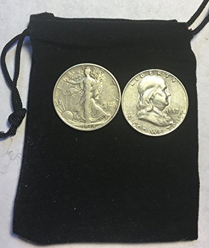 2 Silver Coins Walking Liberty/Franklin Comes in Velvet bag Good to Very ()