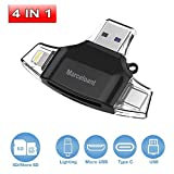 Marceloant SD and Micro SD Card Reader for iPhone iPad Android Phone Apple Macbook/Computer, Memory Card Adapter with Lightning, Micro USB, Type C, USB, Picture and Video Viewer for Camera (Black)