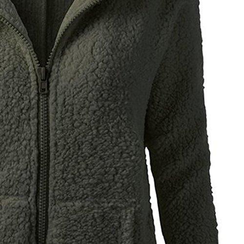 de suave cremallera lana Lenfesh Del abrigo para abrigos capucha ropa suéter de de cálida con Ejército invierno Verde mujer invierno mujeres outwear súper calentar algodón qq0TA8
