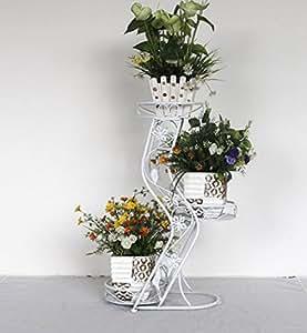 Balcón Estantería de flores Estante de flores de hierro Tipo de piso Rábano verde Marco de flores Multicapa interior y exterior Estantes de flores de estilo europeo ( Color : #2 )