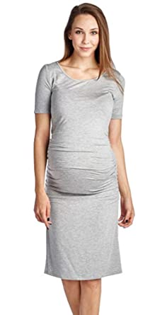 50bda20c6dc7 EPGW Women's Plus Size Maternity Jersey Summer Dress with Ruched Waist,  Grey, ...