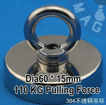 AOMAG/® 250Lbs N52 Pulling Mounting 110Kg Dia 60x15mm Ndfeb Magnet Pot Hook Attached