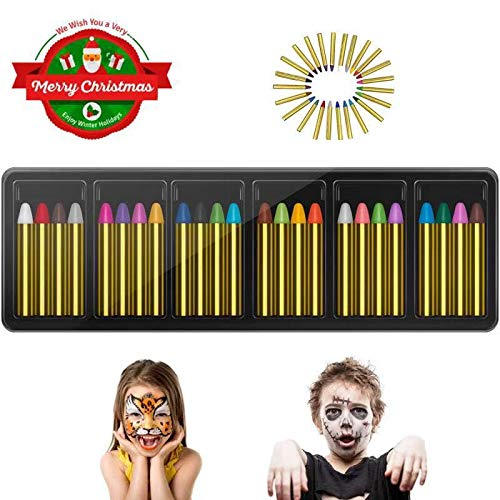 (RIZON Face Painting Kit 24 Colors, Kids Face Body Paint Crayons with 40 Tattoo Stencils, 100% Safe & Non-Toxic Face Paint Sticks for Makeup Party Cosplay Halloween)
