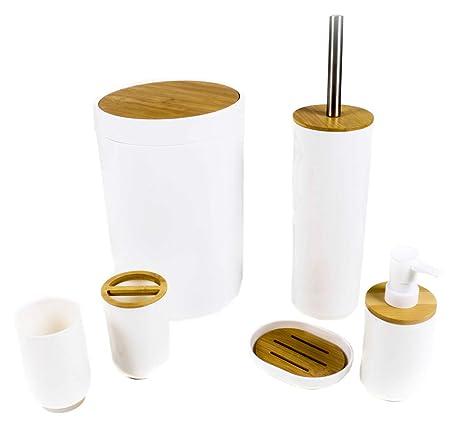 Alpina Badezimmer Und Toiletten Set 6 Teile Ua Mit Zahnputzbecher Seifenspender Seifenschale Abfallbehalter Toiletten Burste Mit Halter