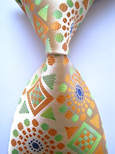 Scott Alone : New Classic Geometric Orange Green 100% Jacquard Woven Silk Men's Tie Necktie Geometric Neckties