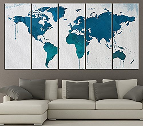 TANDA Extra Large Canvas Blue World Map on White Background with Ink Infiltration 5 Panel Large Wall Art 80 Inch Total by Tanda