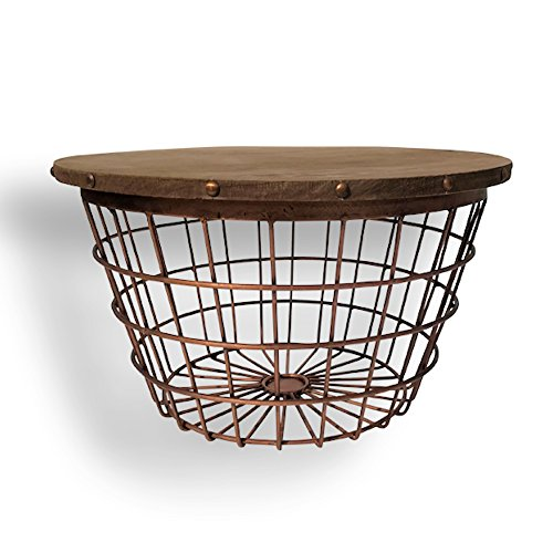 The Urban Drum Table, Wire Basket Bottom, Sustainable Wood and Copper Colored Iron, 11 3/4 Inches Tall, By Whole House Worlds (Basket Coffee Table)