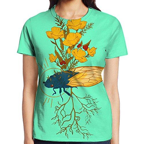 Summer Cicada Women Classic Short Sleeve T-Shirts Graphic Crew Neck (German Shorthaired Pointer Umbrella)