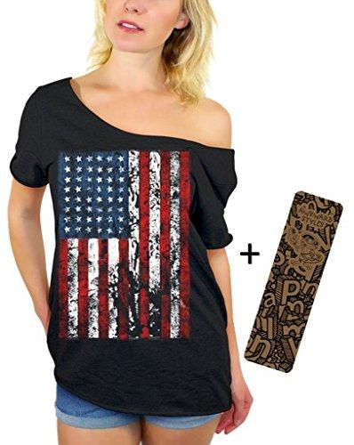 Awkwardstyles American Flag Distressed Off Shoulder Tops T-shirt + Bookmark 2XL Black