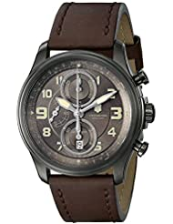 Victorinox Mens 241520 Infantry Stainless Steel Automatic Watch with Brown Leather Band