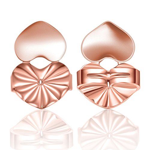 Earrings Lifters, Magic Adjustable Hypoallergenic Ear Stud Back Jewelry Accessories for Women and Girls,Earring Lifts Fits all Post Earrings,3 Colors (Rose Gold) Diamond Shape Post Earrings