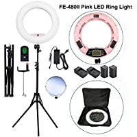 Yidoblo 96W 18 LED Ring Light Kit FE-480II Pink Video Studio Portrait Selfie Makeup Youtube Lighting Bicolor with Remote, Phone/Camera Holder, Mirror, Light Stand, Two Batteries&Chargers, Carry Bag