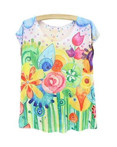 Femme shirt Eté T Gilet Abstrait Acvip Top Courte Rond Avec Manche À Col Fille aTq6ZdwA